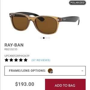 Ray an Waferer RB2132 55 polarized sunglasses!